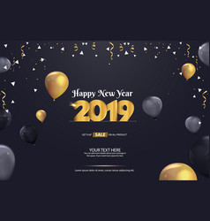 Happy new year 2019 sale abstract background vector