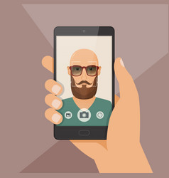Hipster bearded young man takes selfie using a vector