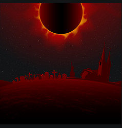Horrible total solar eclipse above the cemetery vector