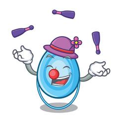 juggling oxygen mask mascot cartoon vector image