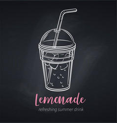 Lemonade icon chalkboard poster vector