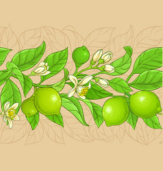 lime branches pattern on color background vector image