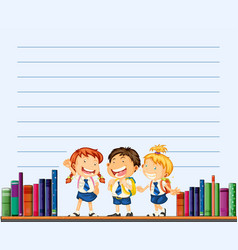 line paper template with kids and books vector image