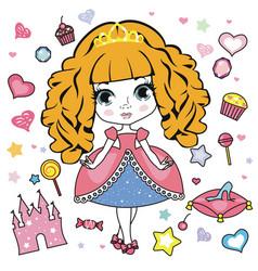 little girl design elements vector image