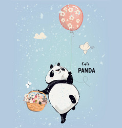 Little panda with balloon vector