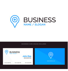 Location map navigation pin plus blue business vector