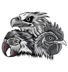 Monochromatic eagle mascot logo design vector