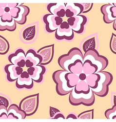 Nature seamless pattern with pink sakura and leaf vector