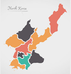 north korea map with states vector image