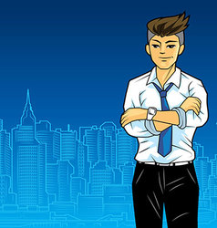 Office man in city vector image