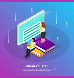 Online courses isometric background vector