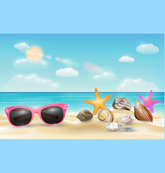 pink sunglasses sea shell and starfish on beach vector image