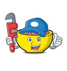 Plumber soup union mascot cartoon vector
