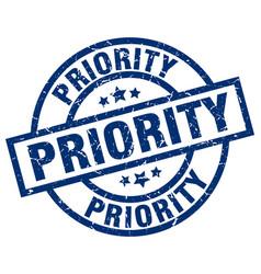 Priority blue round grunge stamp vector