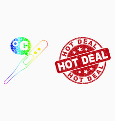 rainbow colored pixel celsius thermometer vector image