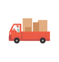 red delivery truck with cardboard boxes fast vector image