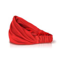 Red headband for hair headdress for cook vector