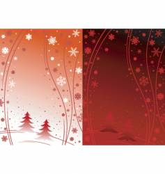 Red winter day and night vector