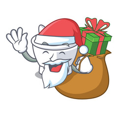 Santa with gift mortar mascot cartoon style vector