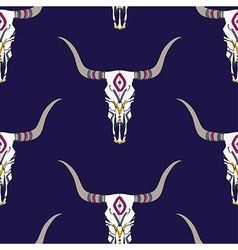 Seamless pattern with bull skull and ethnic vector