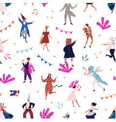 seamless pattern with tiny people in carnival vector image