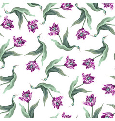 seamless pattern with tulips trendy textile vector image
