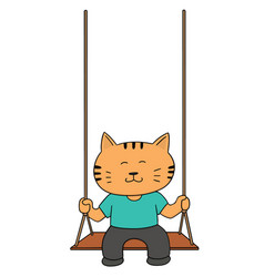 set of cat swing vector image