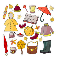 set of hand-drawn autumn elements on a white backg vector image