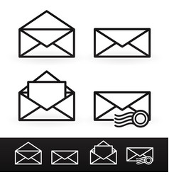 set of outline letter email icons with postage vector image