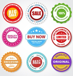 set of stickers tags stamps for sale vector image