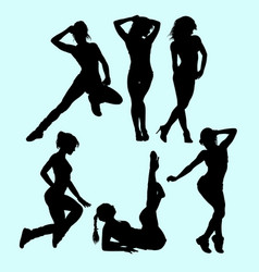 Sexy girls pose and action silhouette vector
