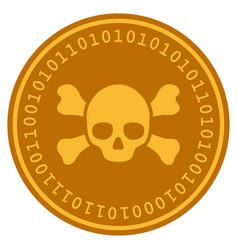 Skull crossbones digital coin vector