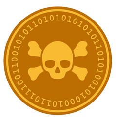 skull crossbones digital coin vector image