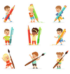 smiling young boys and girls holding big pencils vector image