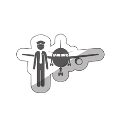 sticker silhouette pilot with aeroplane vector image