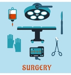 Surgery flat icons with operating room vector
