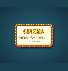template signboard cinema with shadow theater vector image