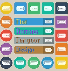 Ticket icon sign Set of twenty colored flat round vector image