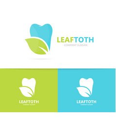 tooth and leaf logo combination dental vector image