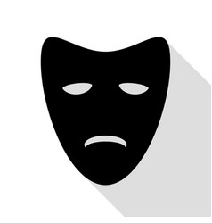 tragedy theatrical masks black icon with flat vector image