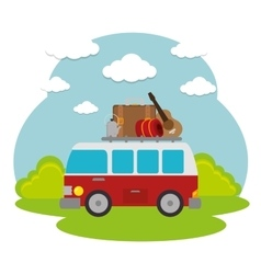 Travel camping day landscape vector