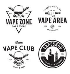 vape shop labels emblems badges set vaping vector image