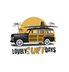 vintage surfing emblem with retro woodie car vector image