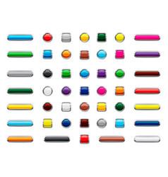 web button icon set cartoon style vector image