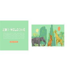 welcome to zoo green cartoon banner vector image