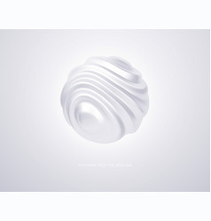 white organic shape 3d sphere isolated on white vector image