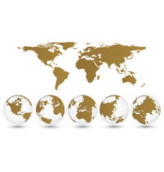 world map and globe detail eps 10 vector image