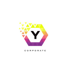 y colorful hexagon shaped letter logo design vector image