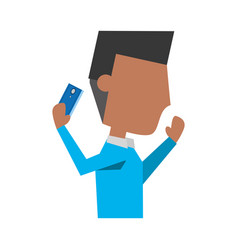 Young man with smartphone cartoon vector
