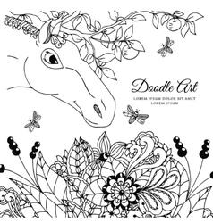 Zentangl the horse in flowers vector